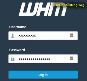 WHM Login Screen