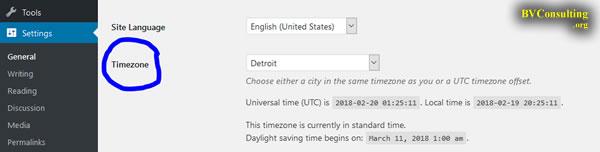 WordPress Setting Timezone